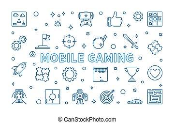 vecteur, concept, style, mobile, jeu, contour, bannière