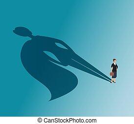 vecteur, concept, superhero, business, femme affaires, cadre, femme, victoire, fort, shadow.
