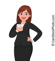vecteur, concept, tenant portable, femme affaires, apps, illustration, main, smartphone, poser, téléphone, dessin animé, heureux, style., hip., technologie