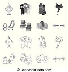 vecteur, conception, équitation, équipement, collection, ...