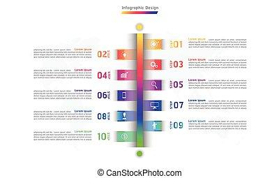 vecteur, conception, étapes, infographic, illustration, ligne, 10, eps10