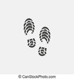 vecteur, conception, chaussures, icône, imprimer, noir, color., plat, illustration, eps10