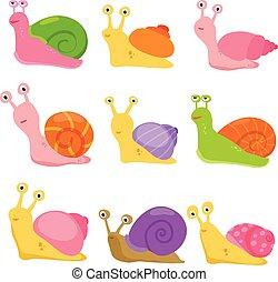 vecteur, conception, escargot, collection