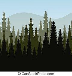 vecteur, conception, illustration., forêt