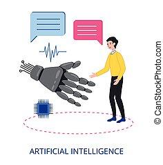 vecteur, conception, intelligence, plat, illustration, artificiel
