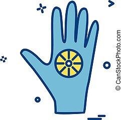 vecteur, conception, main, icône