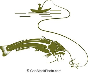 vecteur, conception, poisson-chat, gabarit, pêcheur, bateau