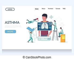 vecteur, conception, site web, atterrissage, gabarit, page, asthme