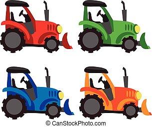 vecteur, conception, tracteur, collection