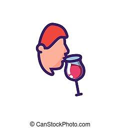 vecteur, conception, vin, isolé, tasse, homme