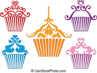 vecteur, conceptions, ensemble, petit gâteau