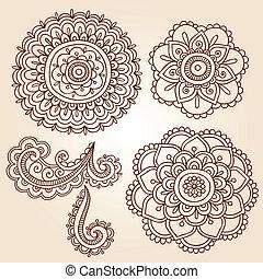 vecteur, conceptions, mandala, henné, fleur