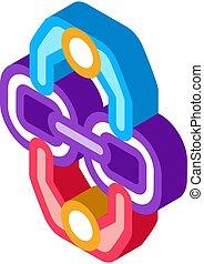 vecteur, connexion, humain, isométrique, illustration, icône
