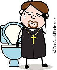 vecteur, constipation, -, moine, illustration, prêtre,...