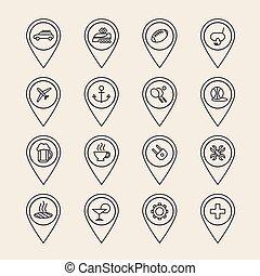 vecteur, contour, épingle, icônes