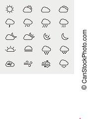 vecteur, contour, icônes, isolé, collection, temps, illustration
