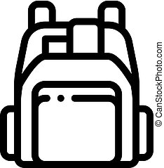 vecteur, contour, magasin, sac à dos, humain, illustration, icône