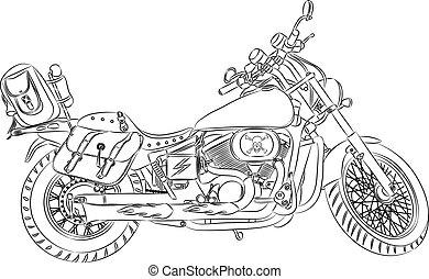 vecteur, contour, motocyclette