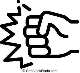 vecteur, contour, poing, force, poinçon, illustration, icône