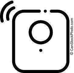 vecteur, contour, reveil, signal, illustration, capteur, icône