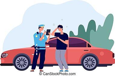 vecteur, contrôle, concept, avertissement, driver., amende, voiture, policier, intrus, sécurité, élevé, trafic, inspecteur, violation., vitesse, écrire