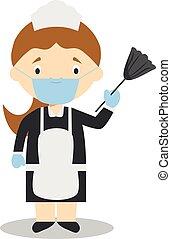vecteur, contre, illustration, ou, gants, chirurgical, protection, girl, latex, nettoyage, bonne, masque, santé, mignon, dessin animé, urgence