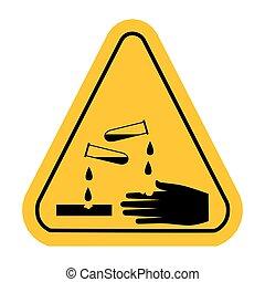 vecteur, corrosif, signe