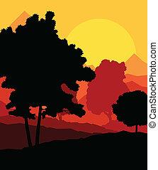 vecteur, coucher soleil, arbres, fond