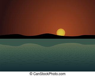 vecteur, coucher soleil