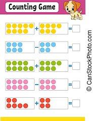 vecteur, couleur éducation, worksheet., jeu, kids., addition...