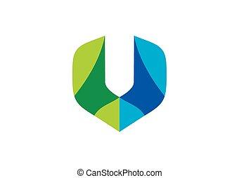vecteur, couleur, construction, u, lettre, logo, abtract