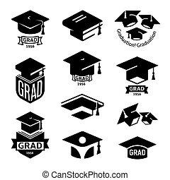 vecteur, couleur, grad, université, collection, logotype, illustration, isolé, ensemble, livres, noir, remise de diplomes, élément, étudiants, logo, mortarboard, education, chapeau, blanc, emblèmes