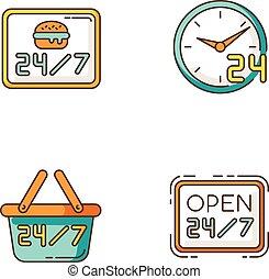 vecteur, couleur, hamburger, journalier, industry., sept, 24, hours., magasin, 7, ouvert, commodité, heure, hrs, quatre, cafe., commerce, rgb, disponible, signe., illustrations, service, icônes, isolé, restaurant., set., vingt
