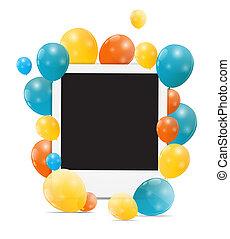 vecteur, couleur, illustration, anniversaire, lustré, fond, ballons, carte