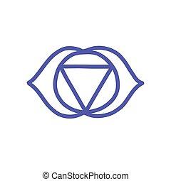 vecteur, couleur, illustration, chakra, ajna, icône, griffonnage