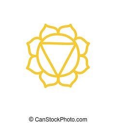 vecteur, couleur, illustration, chakra, manipura, icône, griffonnage
