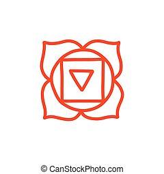 vecteur, couleur, illustration, chakra, muladhara, icône, griffonnage