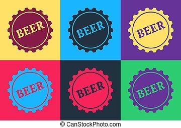 vecteur, couleur, pop, isolé, arrière-plan., mot, bouteille, art, bière, casquette, icône