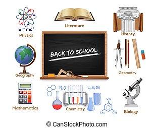 vecteur, couleur, set., dos, école, icônes