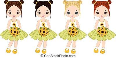 vecteur, couleurs, petites filles, divers, mignon, cheveux