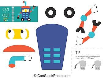 vecteur, couper papier, rigolote, caractère, robotique, colle, carton, modèle, toy., coupure