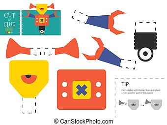 vecteur, couper papier, robot, caractère, mignon, colle, carton, modèle, toy., coupure