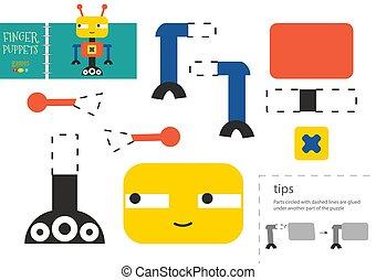 vecteur, couper papier, robot, pédagogique, colle, activité, toy., caractère