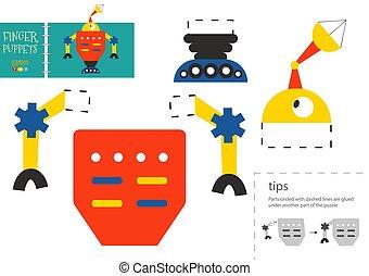 vecteur, couper papier, robot, pédagogique, mignon, colle, activité, toy., caractère