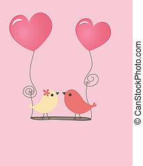 vecteur, couple, love., oiseaux, illustration