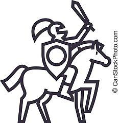 vecteur, coups, chevalier, editable, illustration, signe, fond, icône, ligne