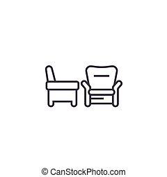 vecteur, coups, editable, deux, illustration, signe, fond, icône, fauteuils, ligne