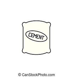 vecteur, coups, editable, sac, signe, fond, illustration, ciment, icône, ligne