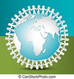 vecteur, coupure, autour de, gens, world., papier, tenant mains, earth., globe.