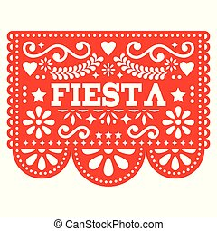 vecteur, coupure, picado, guirlande, fête, -, papel, mexicain, formes, papier, conception, fête, géométrique, fleurs, rouges, dehors